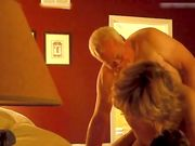 Amateur cuckold threesome with mature wife and young friend in hotel